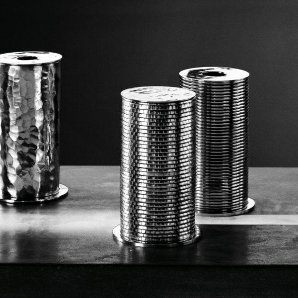 Metallia - Lucillo, Catullo e Tibullo Barattoli - scatole porta gioie in peltro Design Marco Susani e Mario Trimarchi
